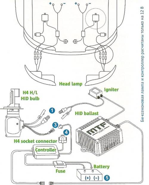 Схема подключения биксенона.
